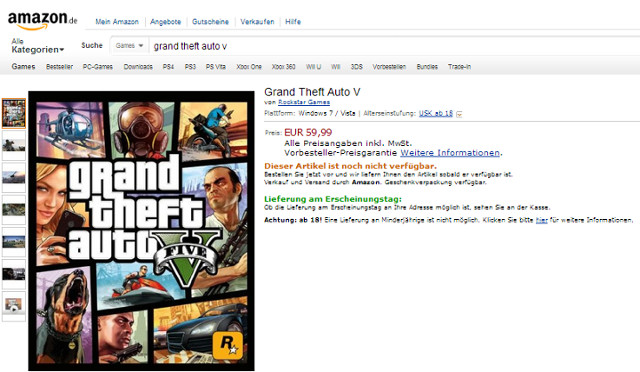 Oferta sklepu Amazon z Grand Theft Auto V na PC