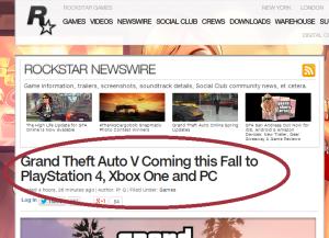 Informacja na stronie Rockstar Games